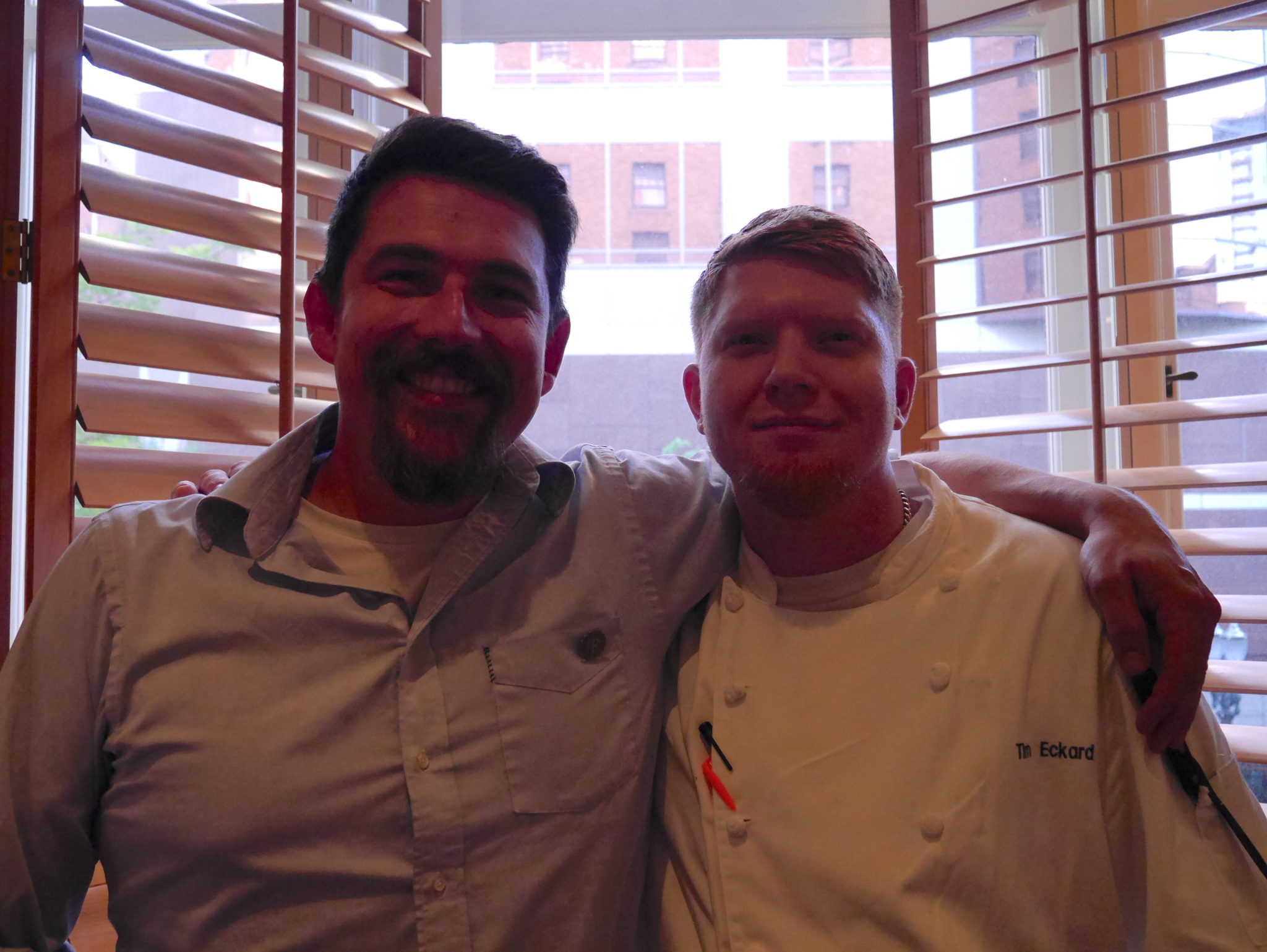 Gavin Lord from pFriem and Tim Eckard from Headwaters during the pFriem Beer Dinner at Headwaters. (photo by Cat Stelzer)
