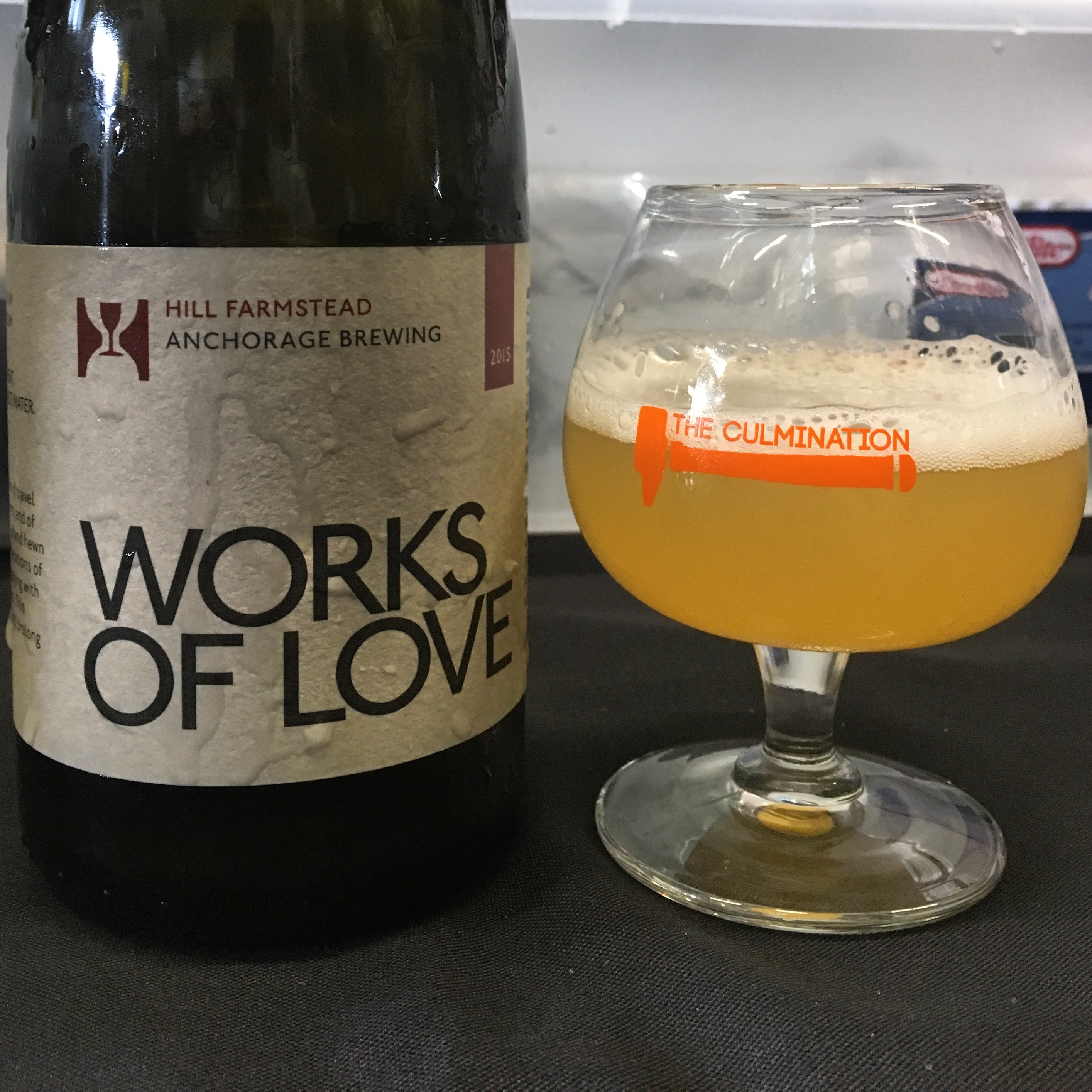 Hill Farmstead Works of Love poured at The Culmination Festival at Anchorage Brewing.