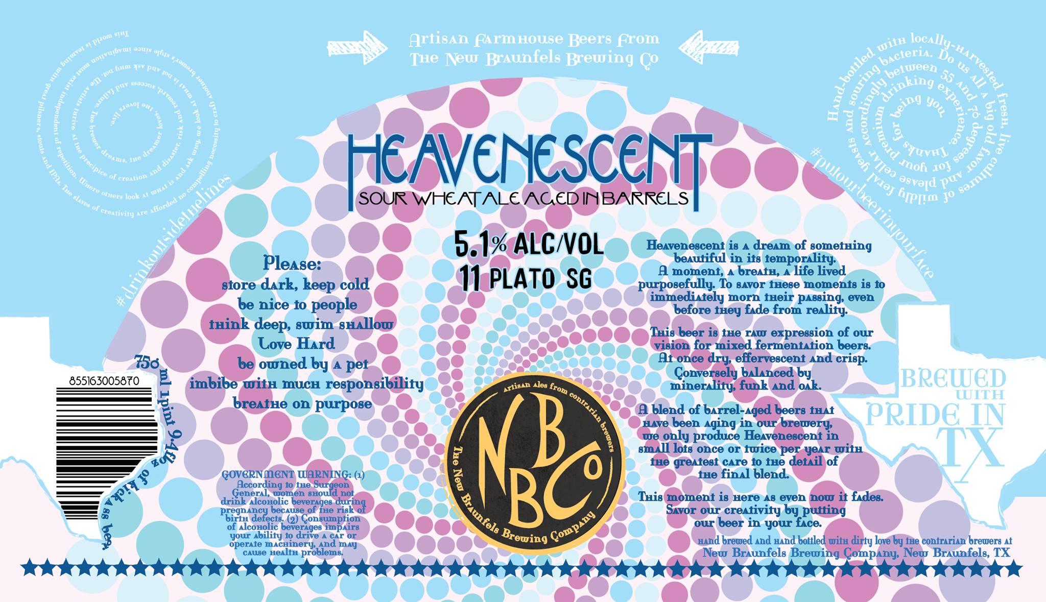 New Braunfels Brewing Heavenescent Barrel-aged Blondine Label