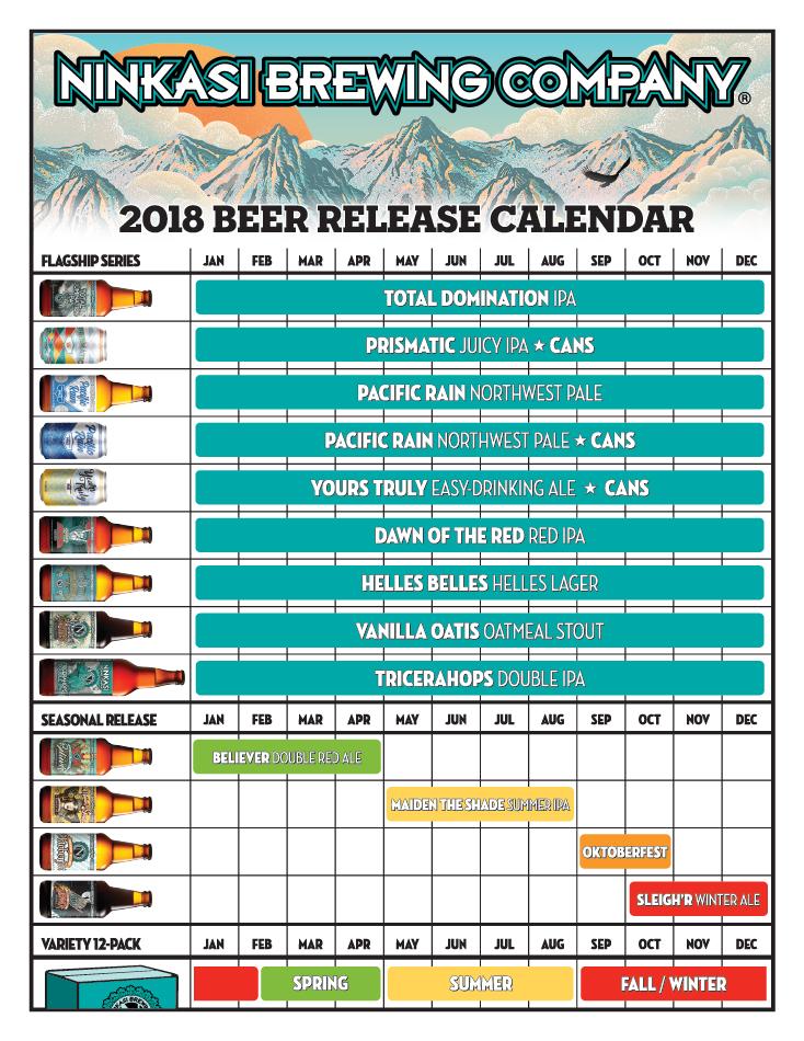 Ninkasi Brewing 2018 Beer Release Calendar