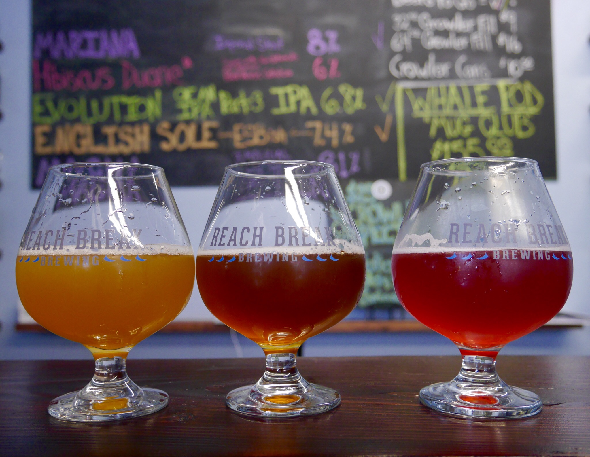 The impressive beers from Reach Break Brewing in Astoria. (photo by Cat Stelzer)