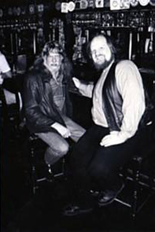 Tom May and the late Don Younger at the Horse Brass...judging from the blurriness, this must be late afternoon at least... (image courtesy of Tom May)