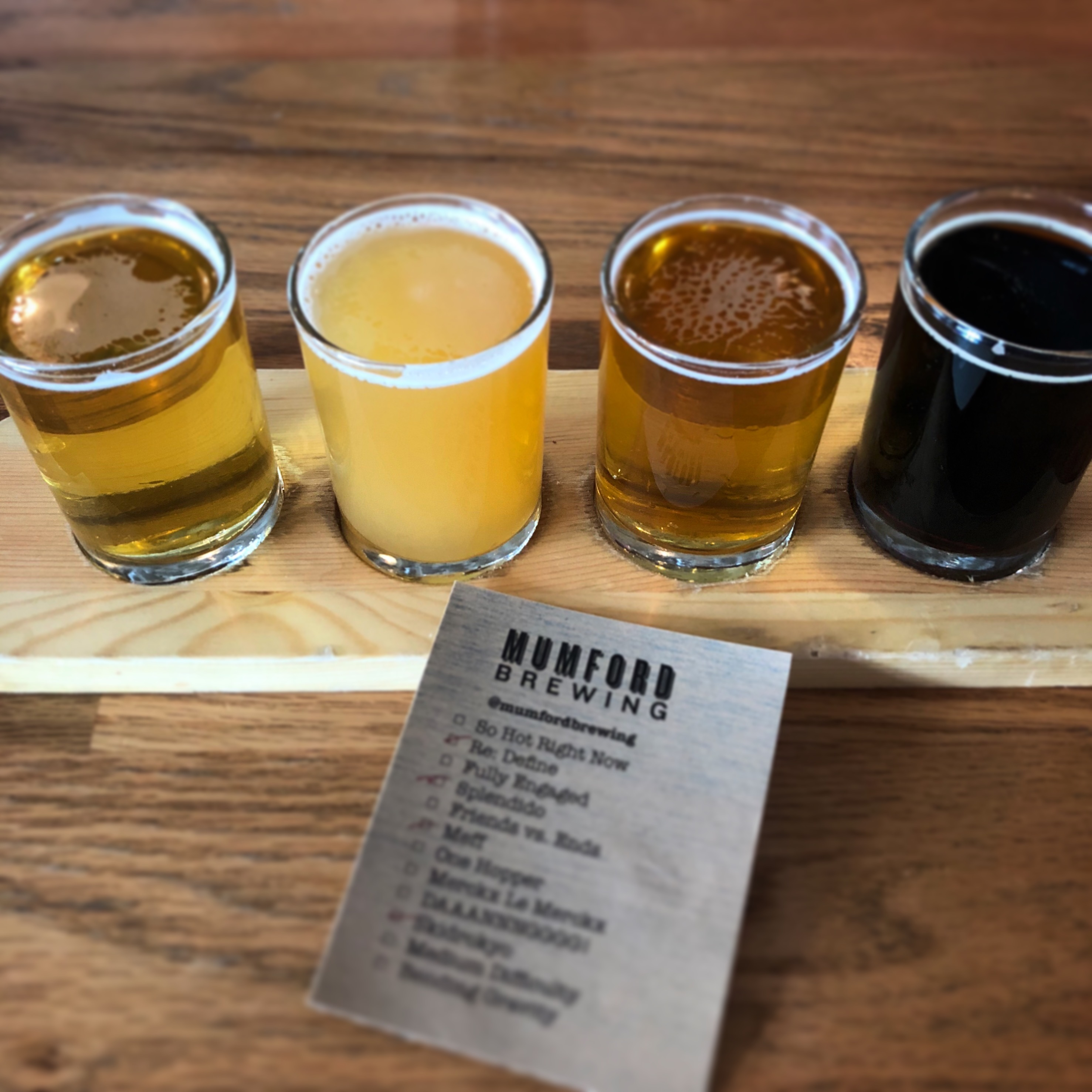 A taster tray at Mumford Brewing in Los Angeles.