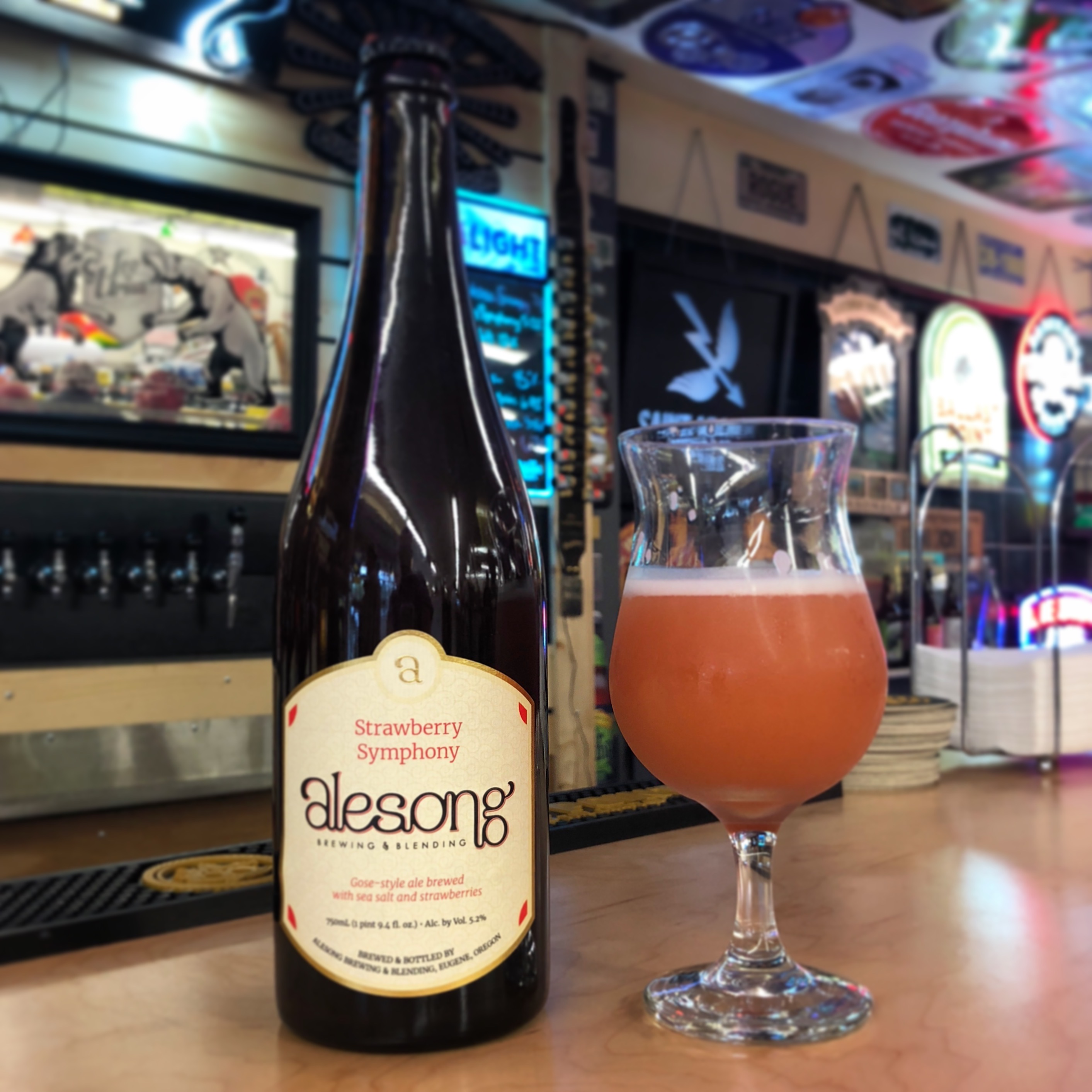 Earlier this year John's Marketplace added taps to its cozy deli and feature Friday night tastings of beer, cider and wine. We made a visit when Alesong Brewing was there and had its Strawberry Symphony.
