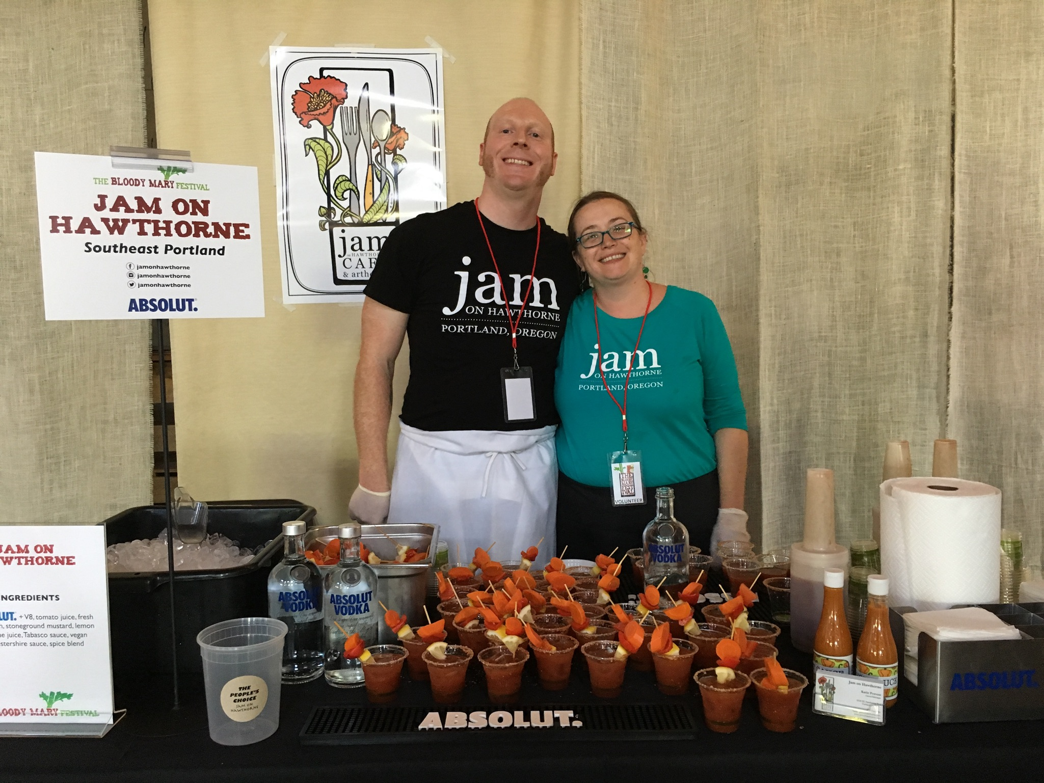 Gordo and Katie from Jam on Hawthorne offered up a tasty Bloody Mary at Portland's Bloody Mary Festival.