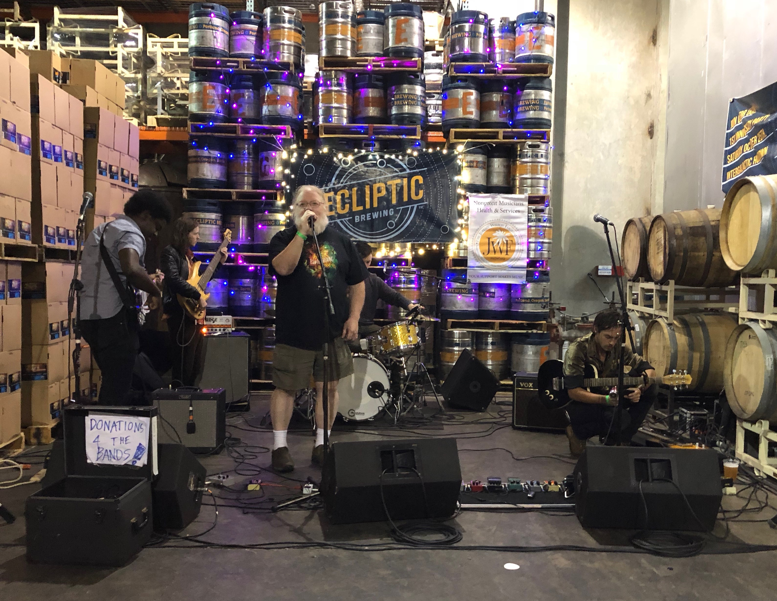 John Harris speaking at Ecliptic Brewing's Anniversary.