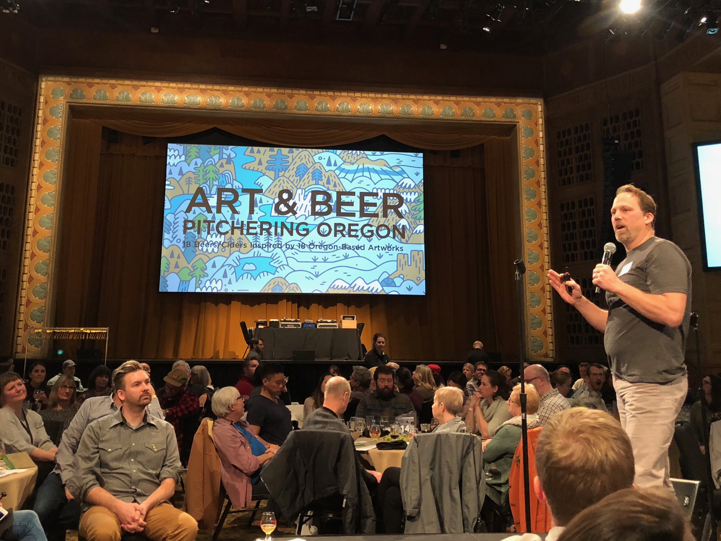 Little Beast owner:brewmaster Charles Porter speaking during Art & Beer at the Portland Art Museum.