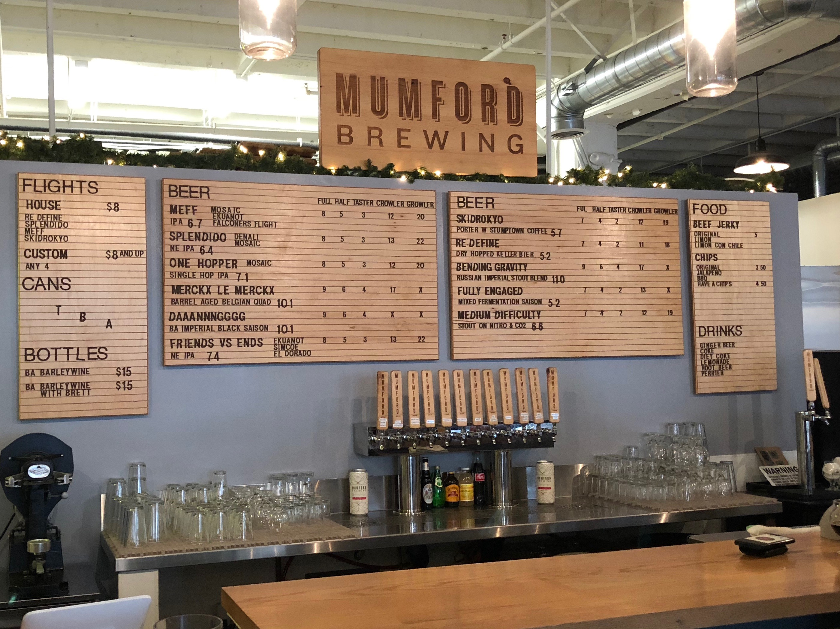The bar with the tap list at Mumford Brewing in Los Angeles.
