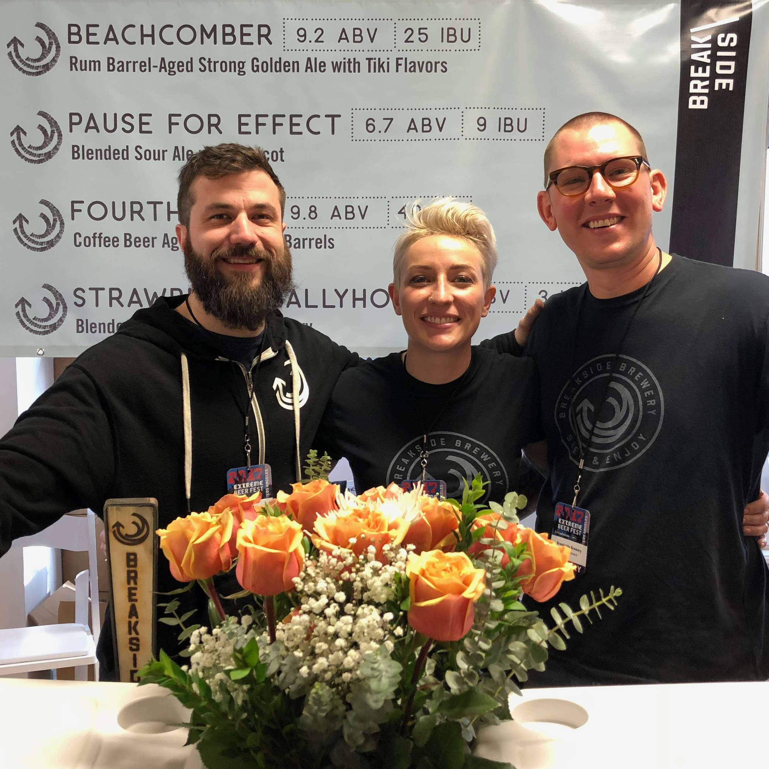The crew from Breakside Brewery at BeerAdvocate Extreme Beer Fest in Los Angeles. This booth had the best flower bouquet.