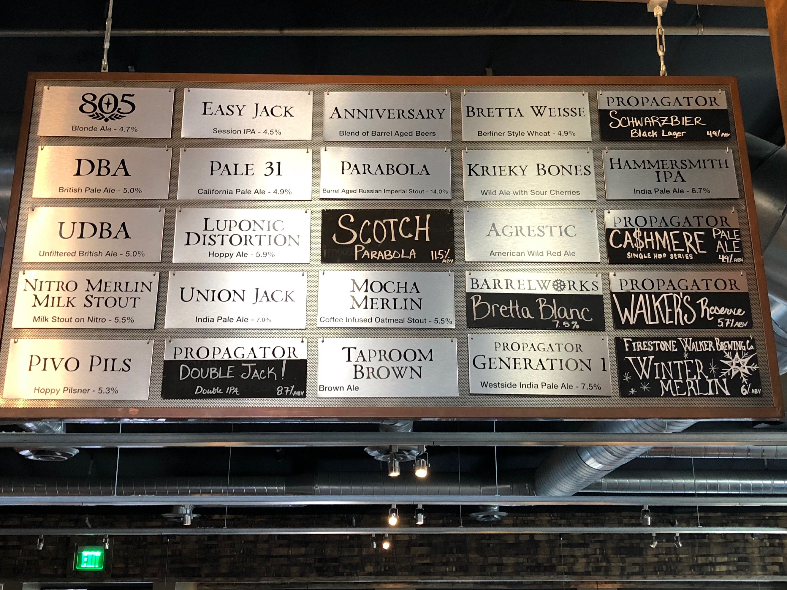 The tap list at Firestone Walker Propagator during our visit in early December 2017.