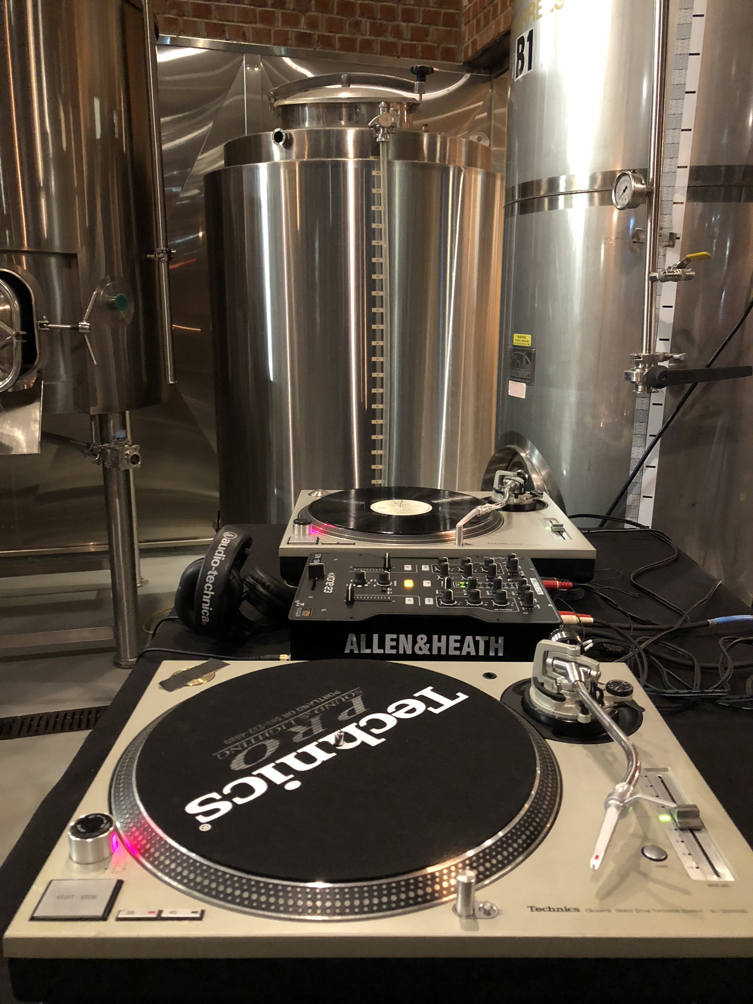 The turntable at The Commons Brewery. (photo by Cat Stelzer