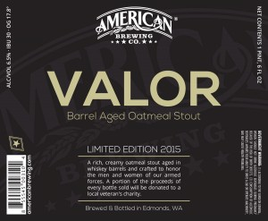 Valor Bottle Label Barrel Aged Oatmeal Stout Limited Edition 2015