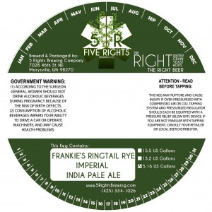 Five Rights Frankie's Ringtail Rye Imperial India Pale Ale