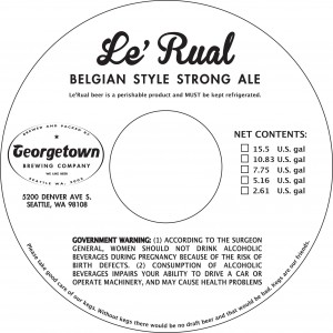 Georgetown Le'Rual Belgian Style Strong Ale