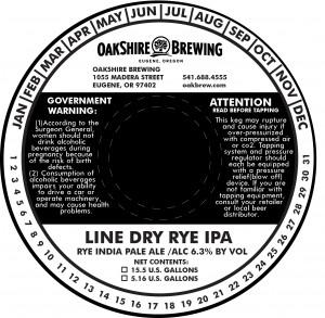 Oakshire Line Dry Rye IPA