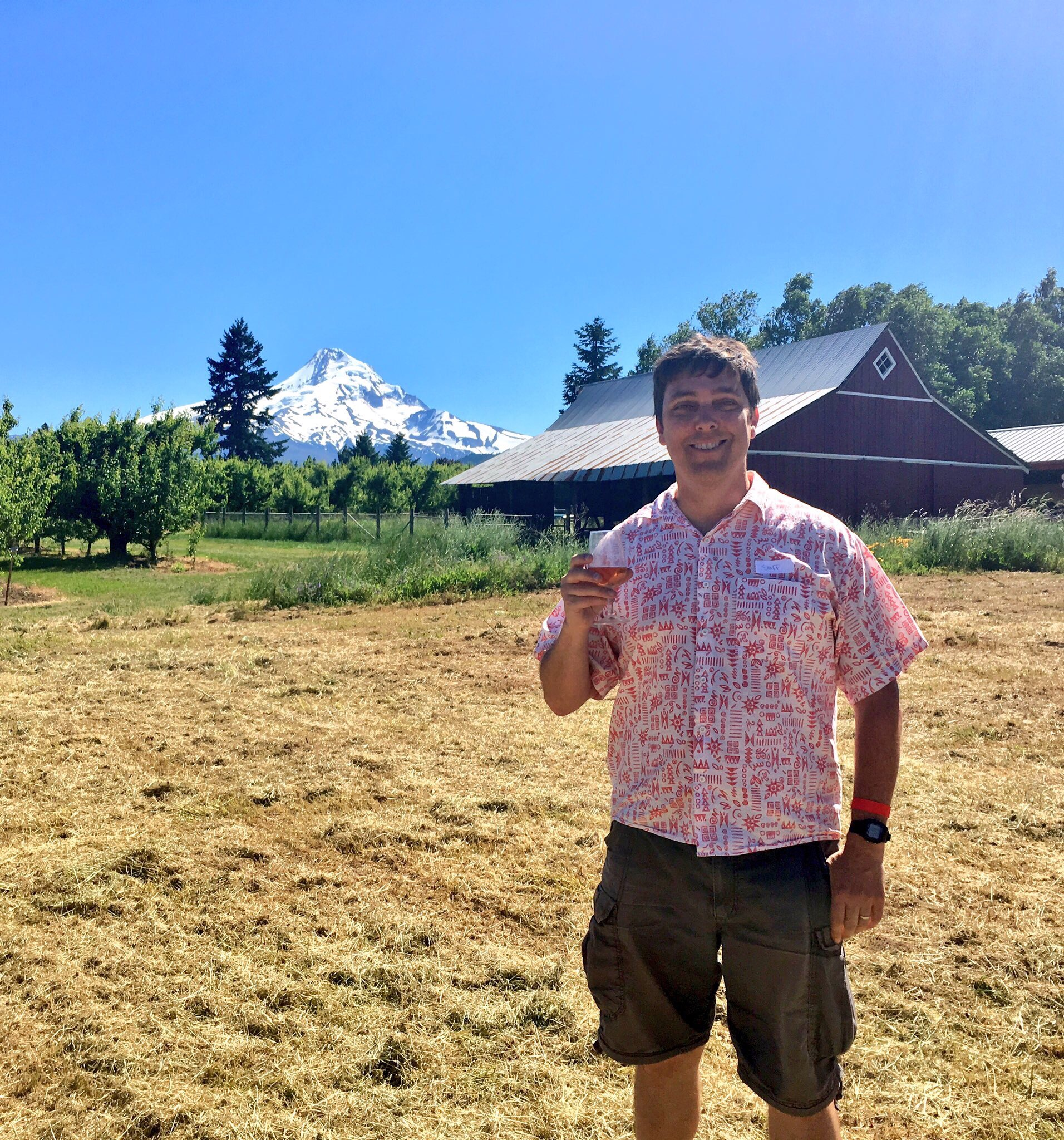 Brian Yeager during the 2nd Annual Kriekfest held in Parkdale, Oregon our beautiful Mt. Hood in the background. (photo by Cat Stelzer)