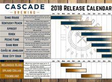 Cascade Brewing 2018 Beer Release Calendar