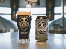 A pour from the Firestone Walker Nitro Merlin Milk Stout 12 ounce can. (image courtesy of Firestone Walker Brewing Co.)