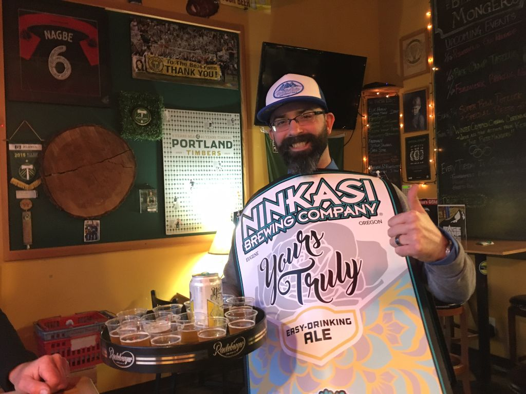 Ninkasi's Ryan Brentley was hitting Portland pubs wednesday night, sampling tastes from the breweries new series of 12-oz. cans: the easy-drinking Yours Truly, Pacific Rain pale ale and a new hazy IPA. Look for them on grocers' shelves soon...(FosytonFoto)