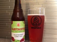 New Belgium Brewing's Tartastic Raspberry Lime Ale poured into a BREWPUBLIC glass.