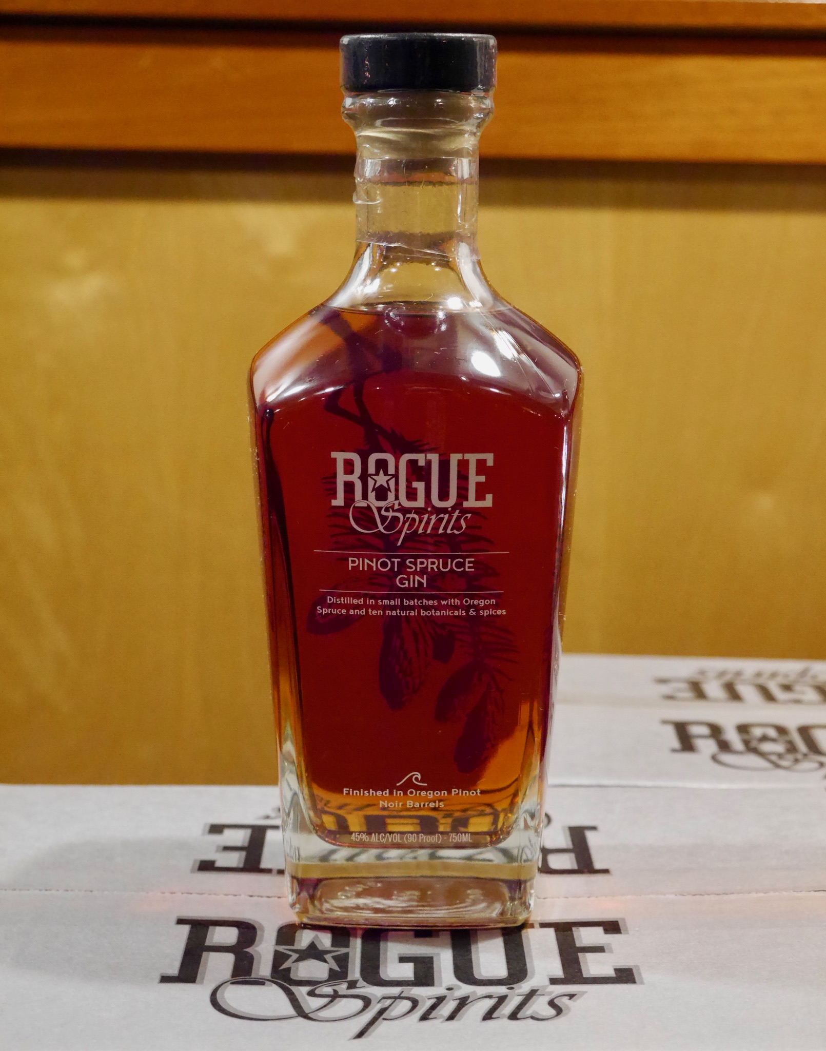 Rogue Spirits new Pinot Spruce Gin. (photo by Cat Stelzer)