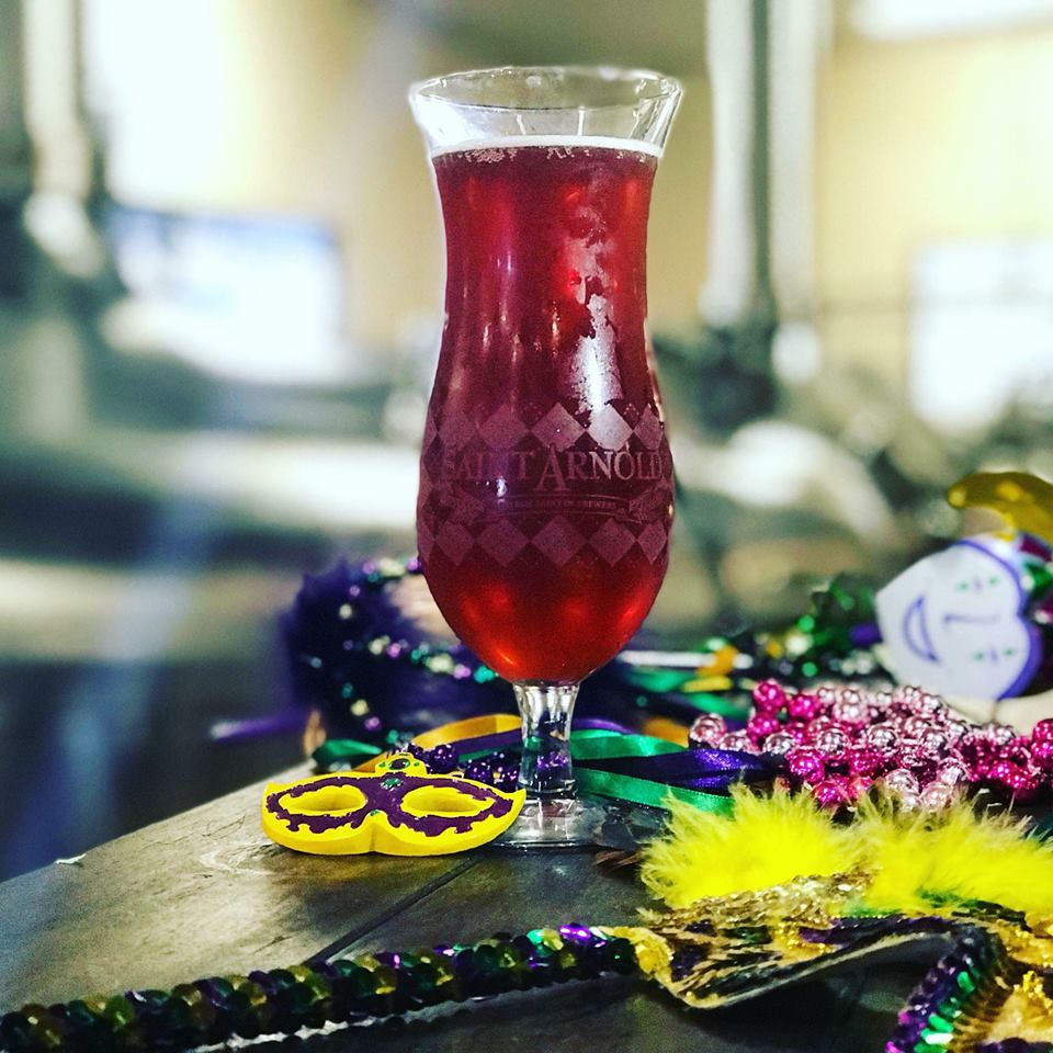 Saint Arnold Raspberry AF Berliner Weisse photo in hurricane glass. (picture courtesy of Priscilla Walker of Saint Arnold)