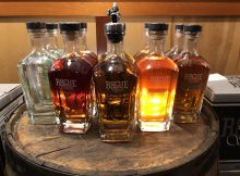 The newly relaunched lineup of Rogue Spirits. (photo by Cat Stelzer)
