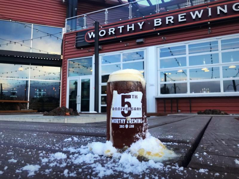 Worthy Brewing celebrates five years on Friday, February 2, 2018. (image courtesy of Worthy Brewing)