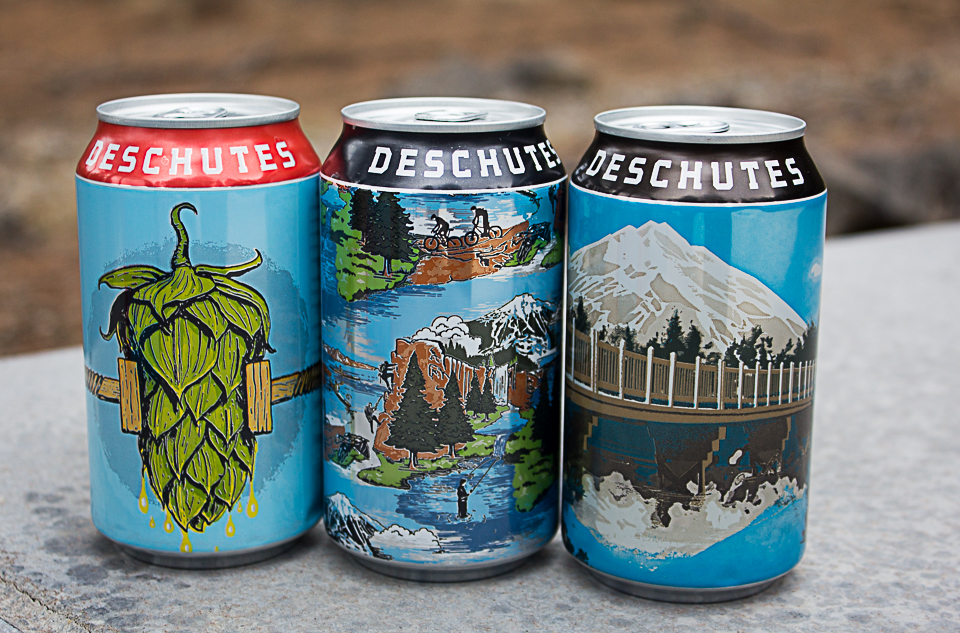 image of cans of Mirror Pond Pale Ale, Pacific Wonderland Lager and Fresh Squeezed IPA courtesy of Deschutes Brewery