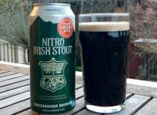 A glass pour of Breckenridge Brewery Nitro Irish Stout.
