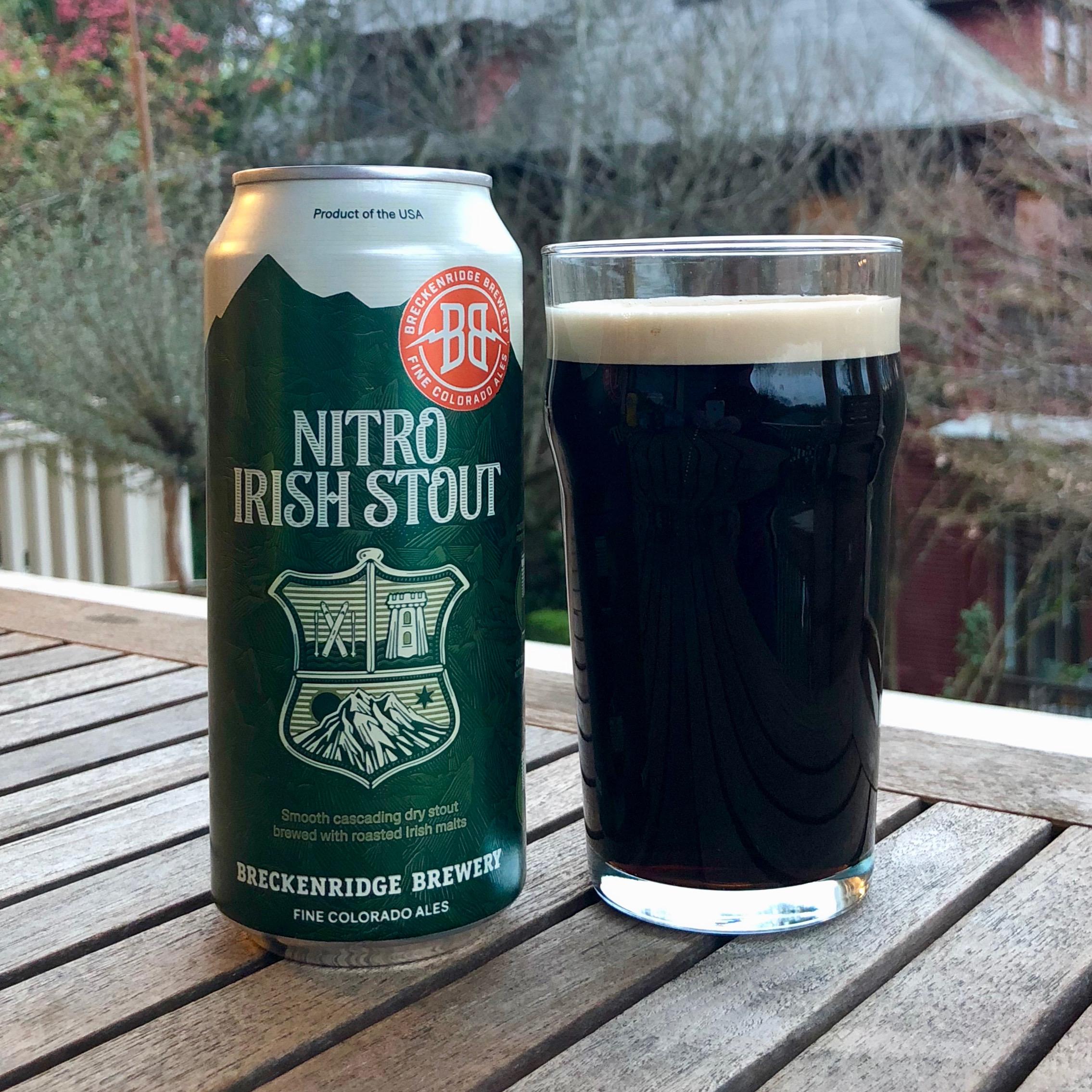 A glass pour of Breckenridge Brewery Nitro Irish Stout.