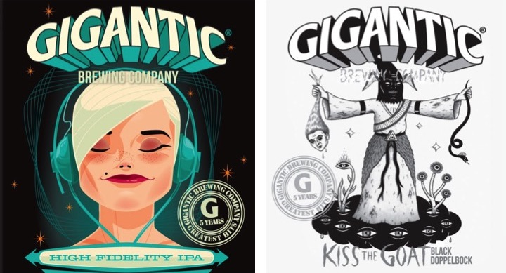 Gigantic 5th Anniversary Greatest Hits - High Fidelity IPA and Kiss the Goat Black Doppelbock