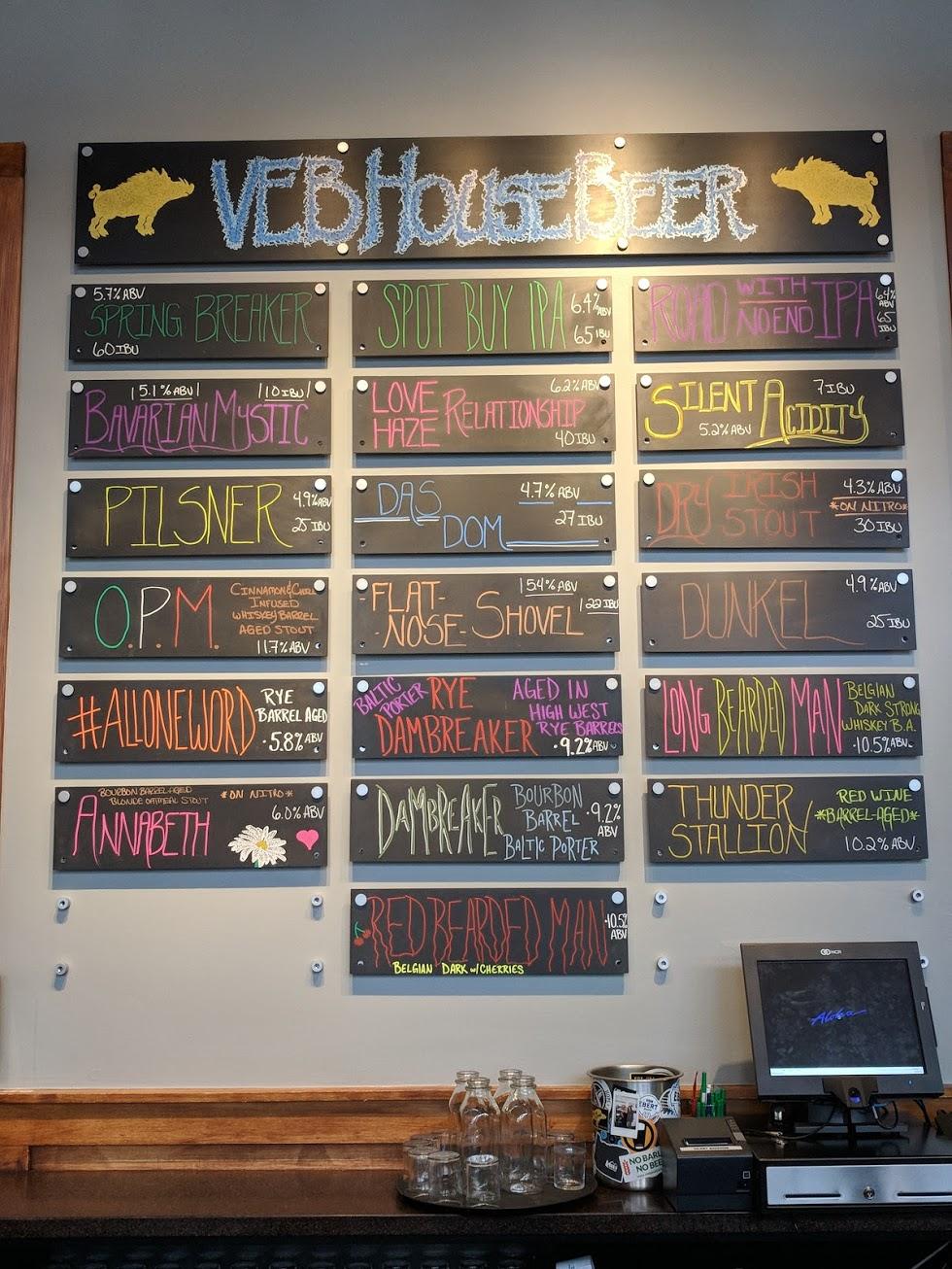 The beer menu at Von Ebert Brewing. (photo by Nick Rivers)