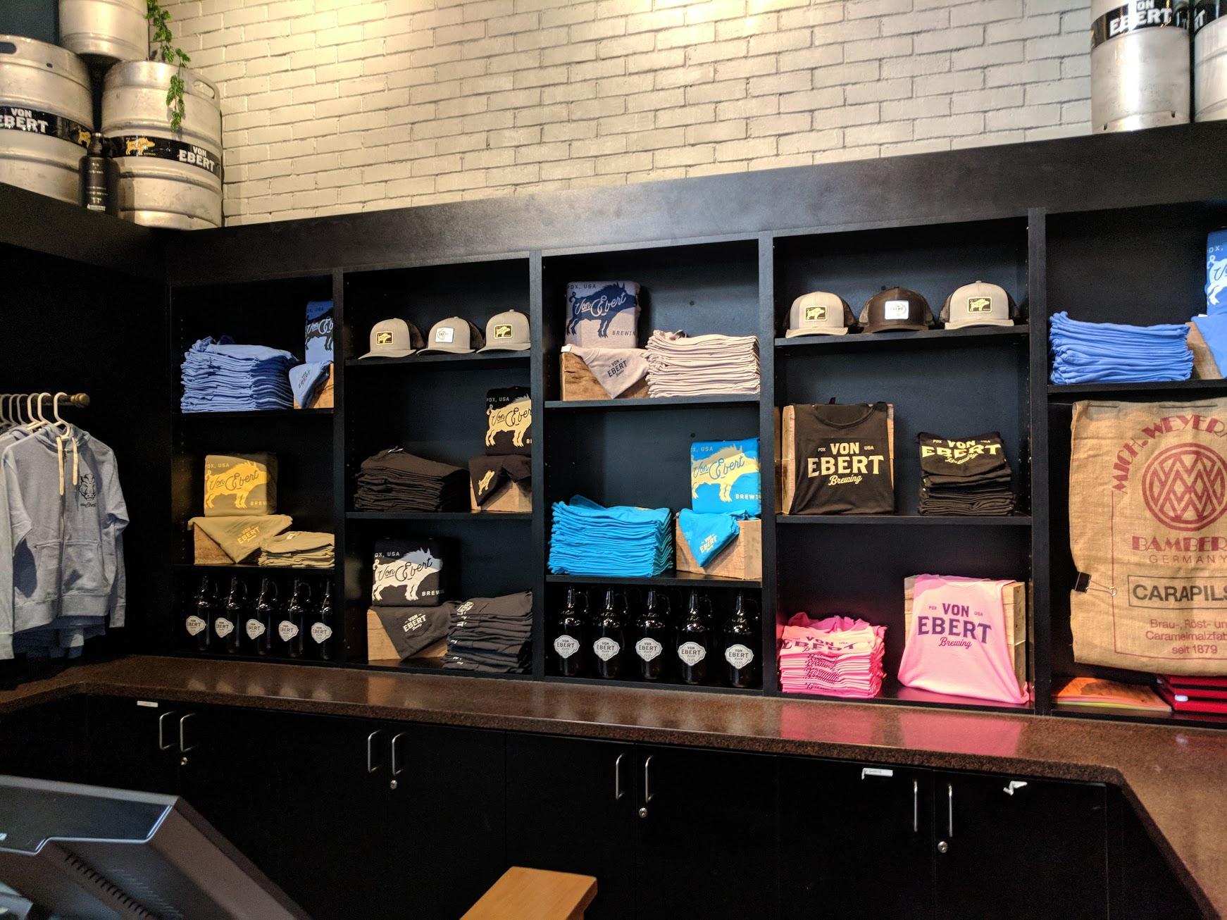 Von Ebert Brewing merchandise area. (photo by Nick Rivers)
