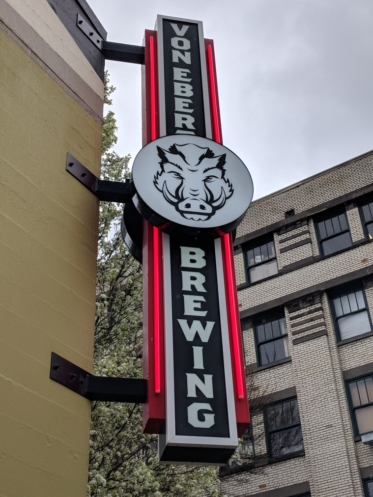 Von Ebert Brewing sign at NW 13th and NW Davis. (photo by Nick Rivers)