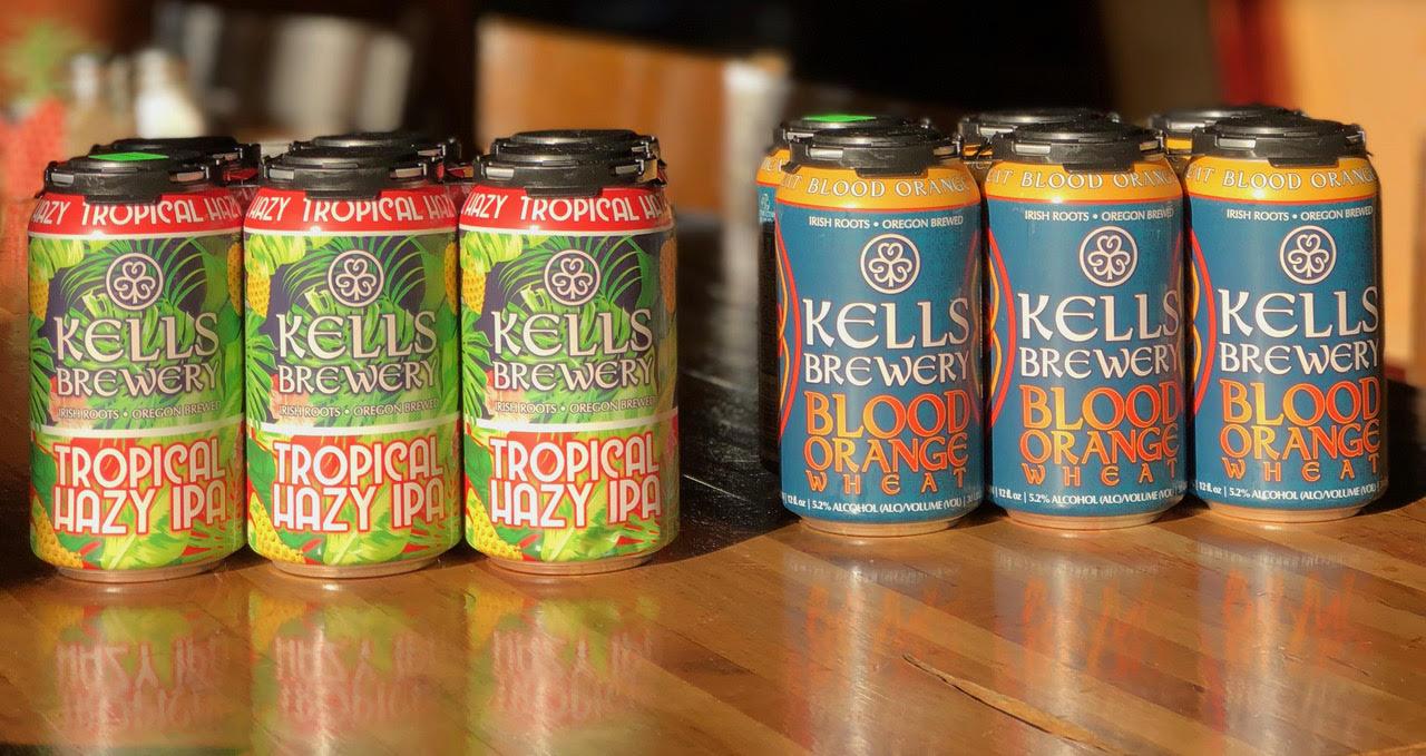 image of Kells Tropical Hazy IPA and Blood Orange Wheat courtesy of Kells Brewery