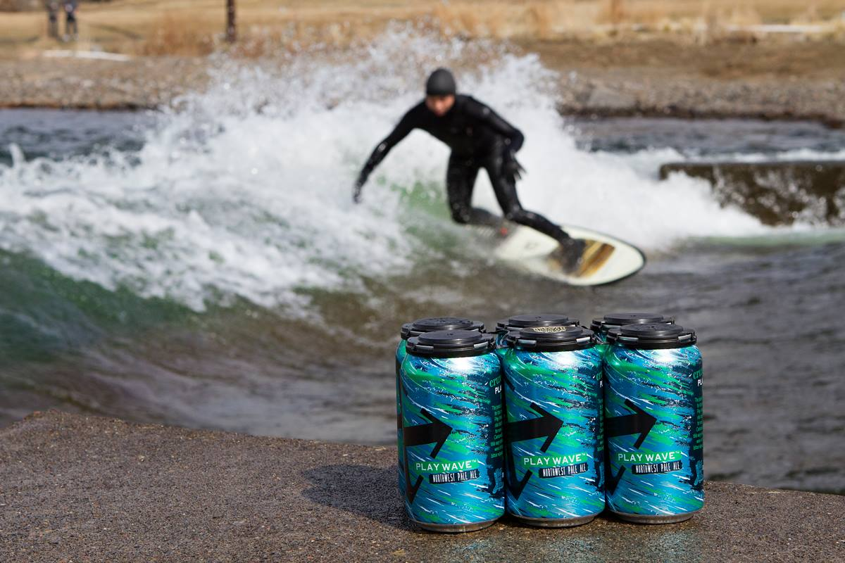 image of Crux Fermentation Project Play Wave Northwest Pale Ale featurng surfer Travis Yamada courtesy of John Trapper