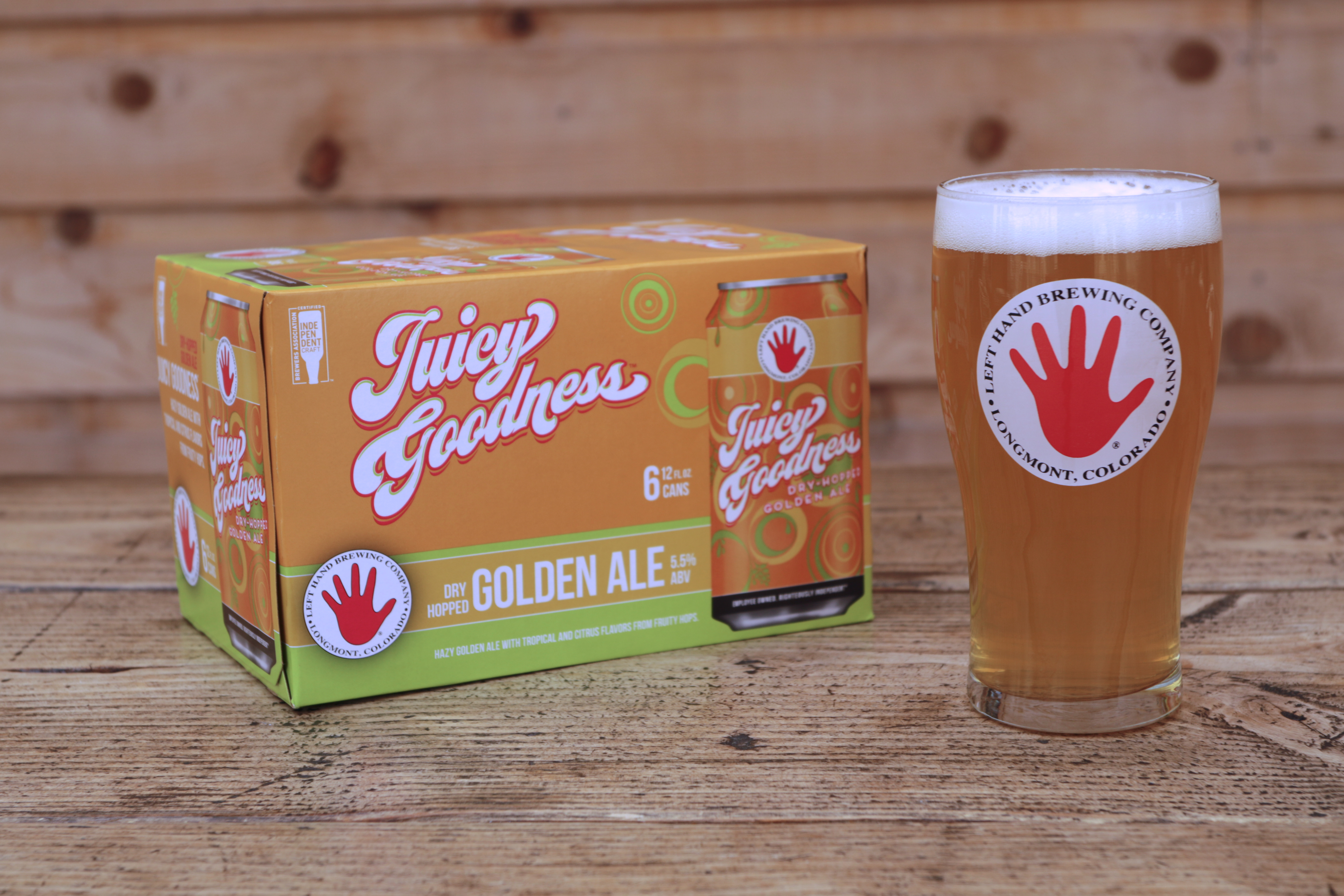 image of Juicy Goodness Dry Hopped Golden Ale courtesy of Left Hand Brewing