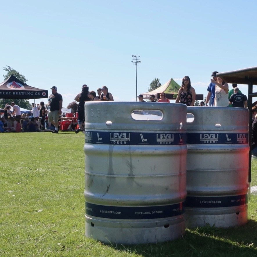 A few empty kegs from Level Beer at the 2018 stop of Sabroso Craft Beer, Taco & Music Festival in Portland, Oregon.