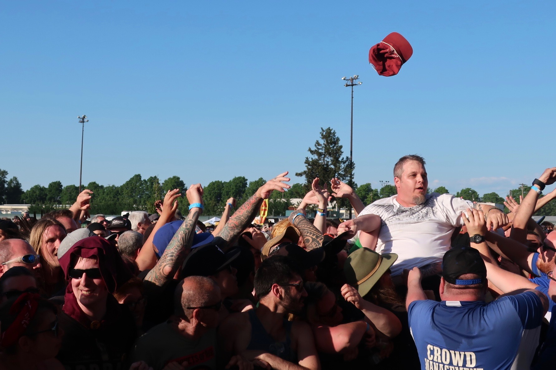 Crowd surfers during the Pennywise set at the 2018 stop of Sabroso Craft Beer, Taco & Music Festival in Portland, Oregon.