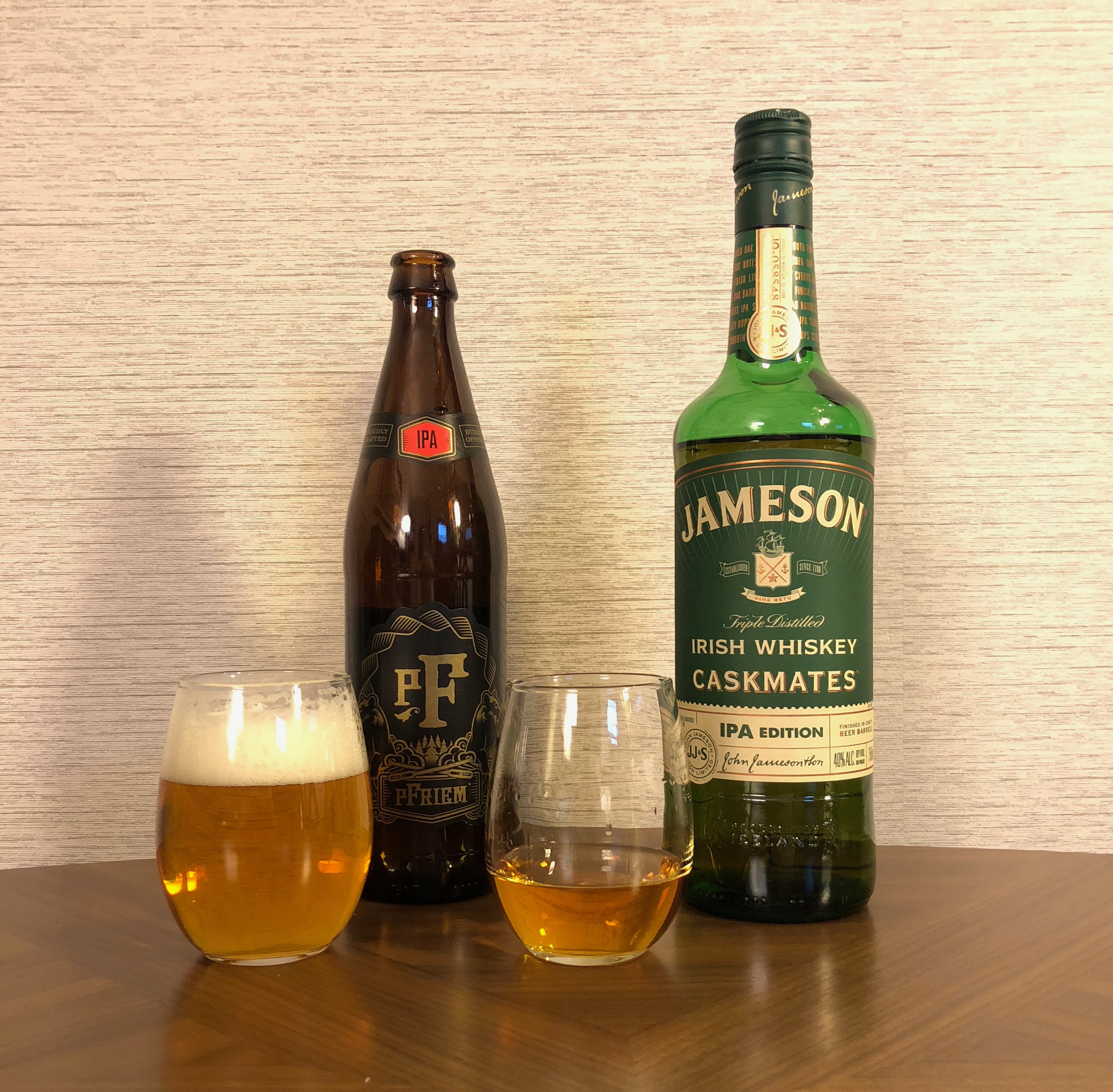 Jameson Caskmates IPA Edition poured alongside pFriem Family Brewers IPA.