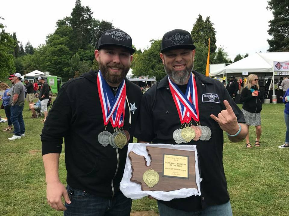 At the 2018 Washington Beer Awards, Grains of Wrath came up big as the Camas brewery was awarded six medals and Very Small Brewer of the Year. (image courtesy of Grains of Wrath Brewing)
