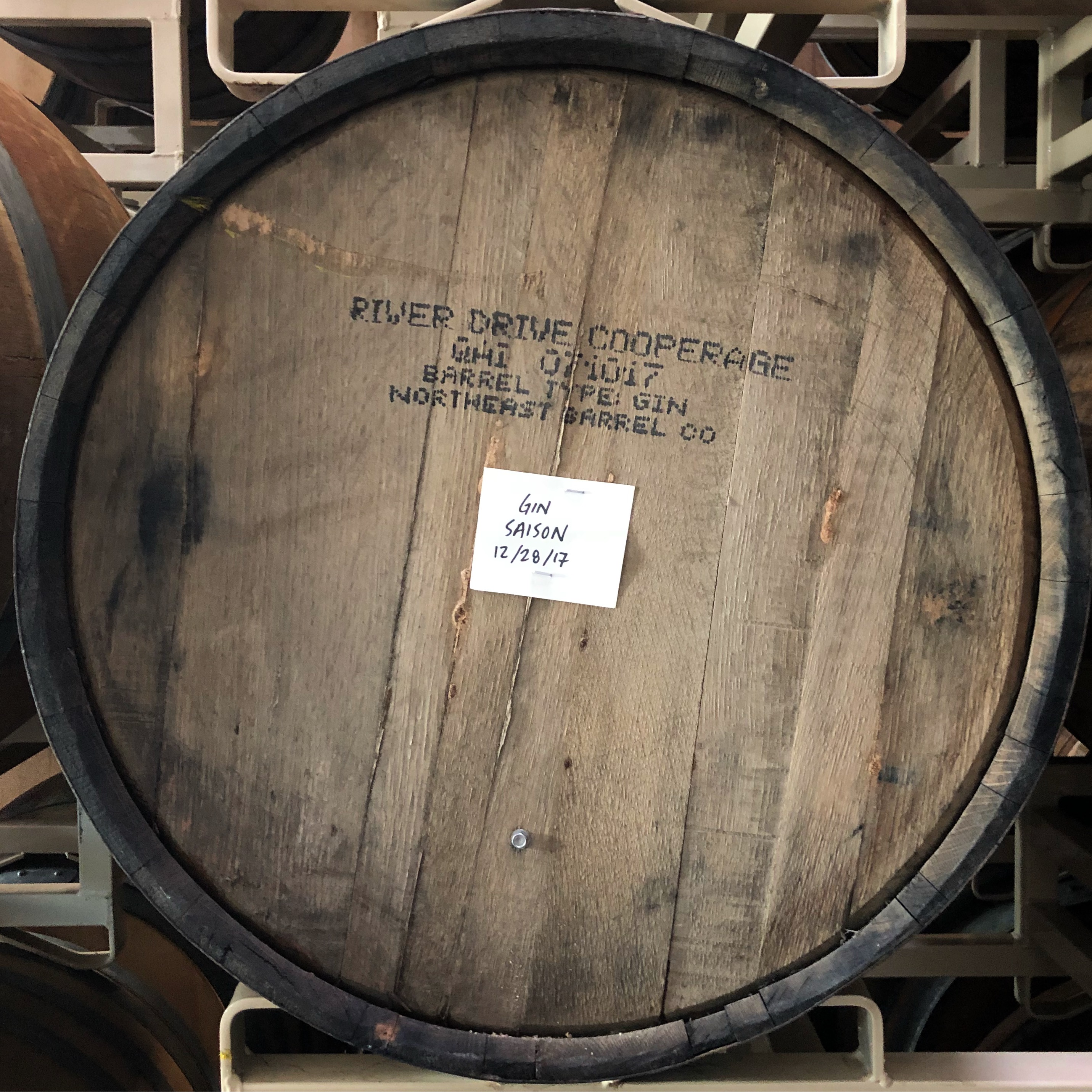 A barrel of Gin Saison aging at pFriem Family Brewers.