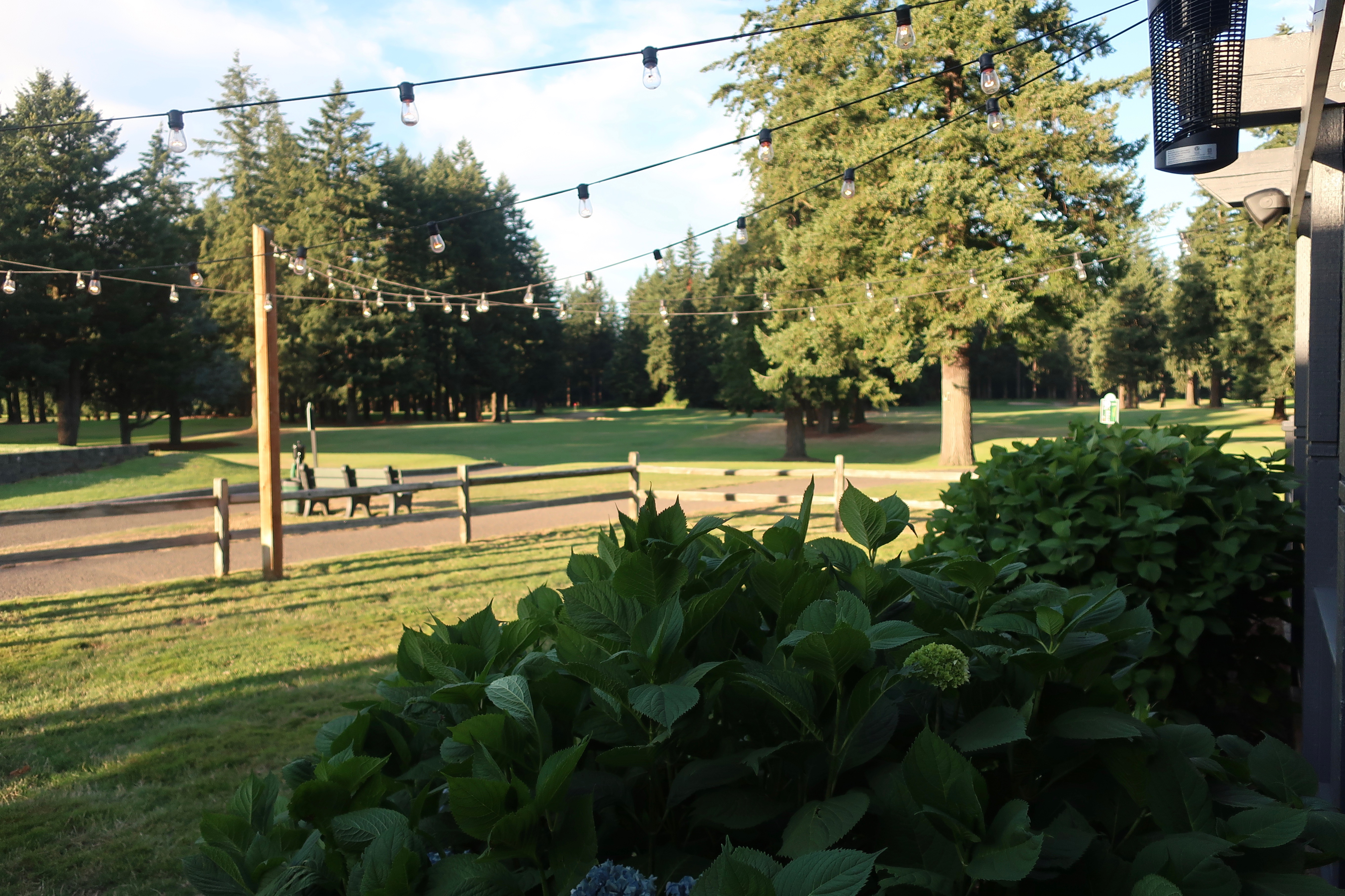 A view from the covered patio of Glendoveer Golf Course at Von Ebert Brewing - East.