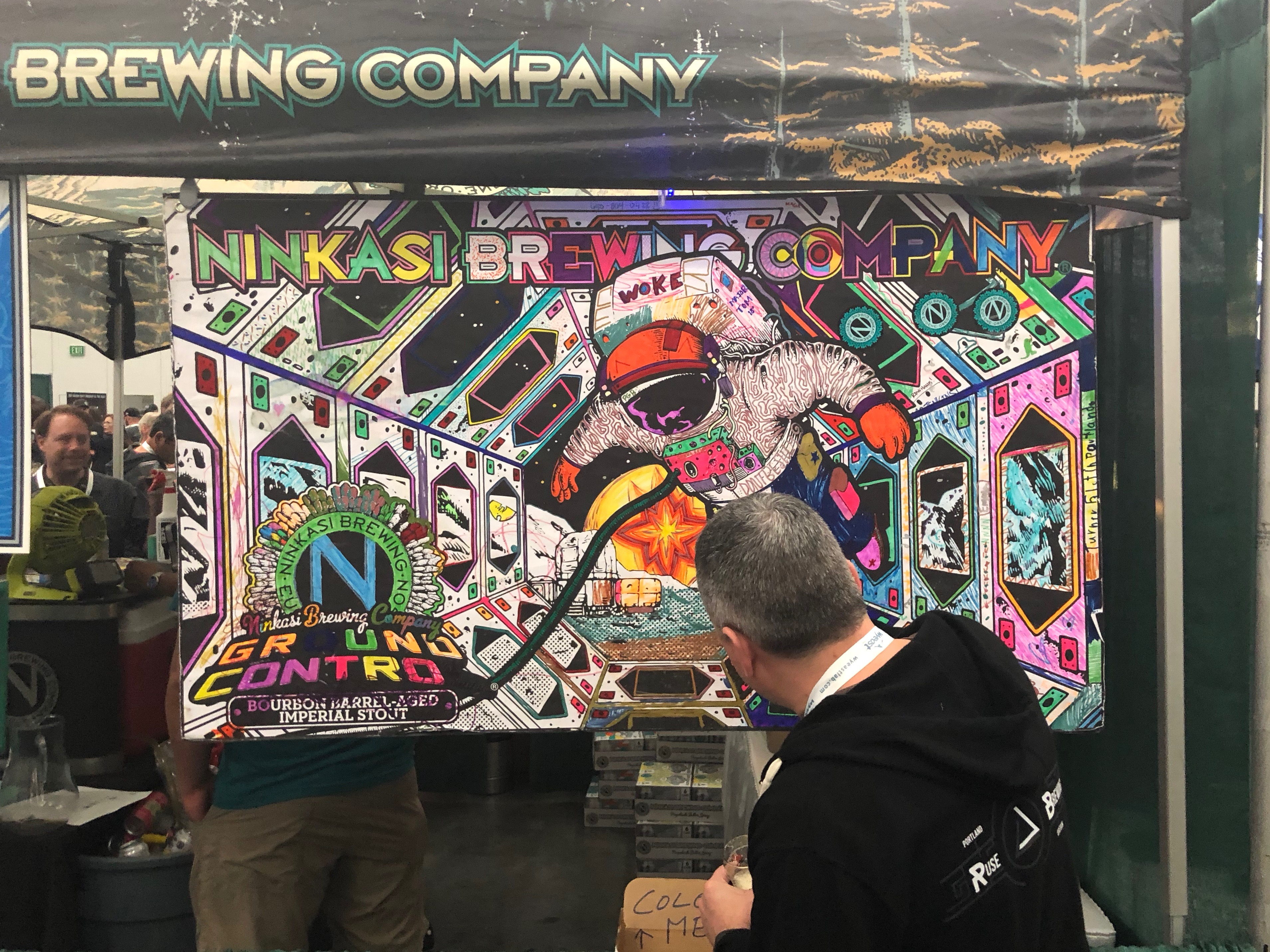 Ninkasi Brewing encouraged some artwork during the Homebrew Con 2018 Kickoff Party.