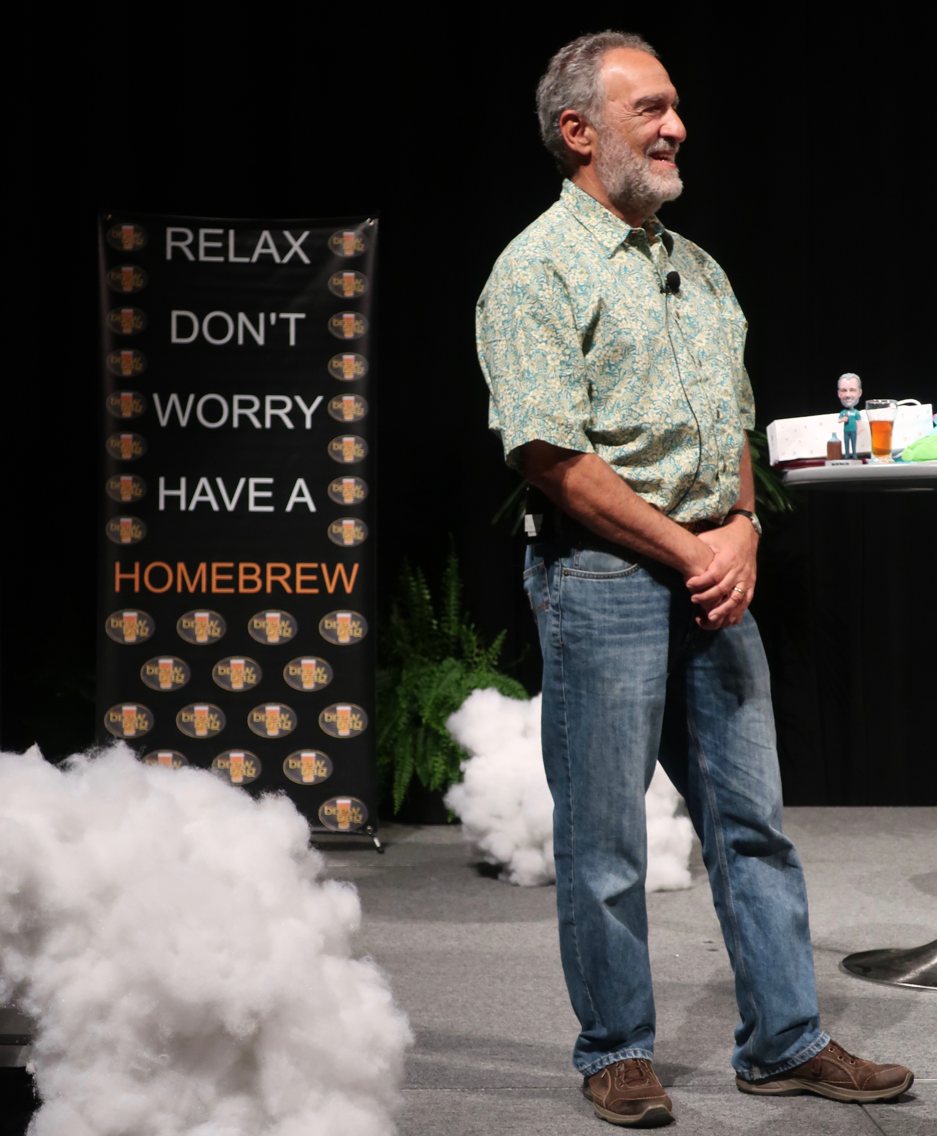 """Relax, Don't Worry, Have a Homebrew"" with Charlie Papazian during the Keynote Address at Homebrew Con 2018."