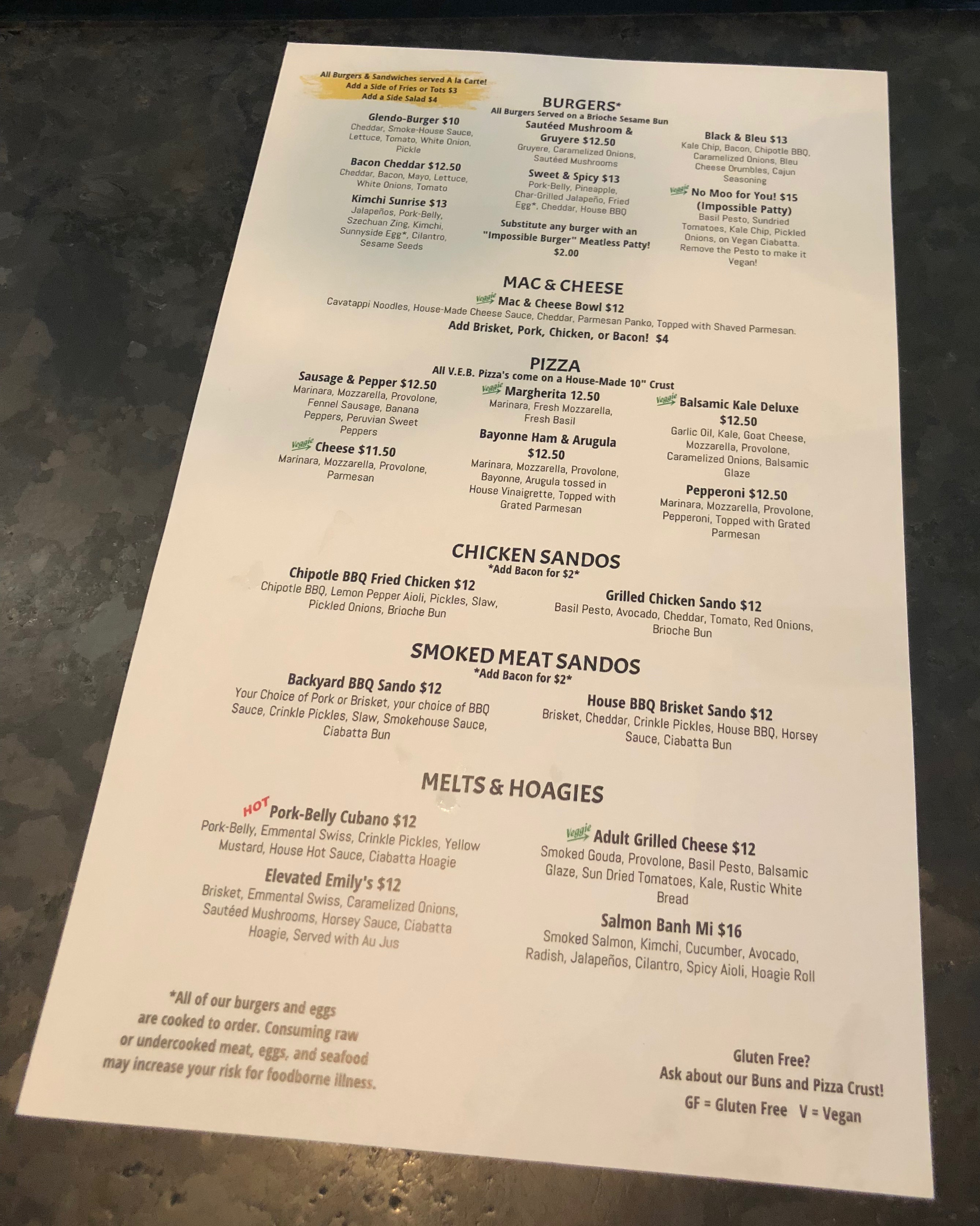 The Food Menu (page 2) at Von Ebert Brewing - East.