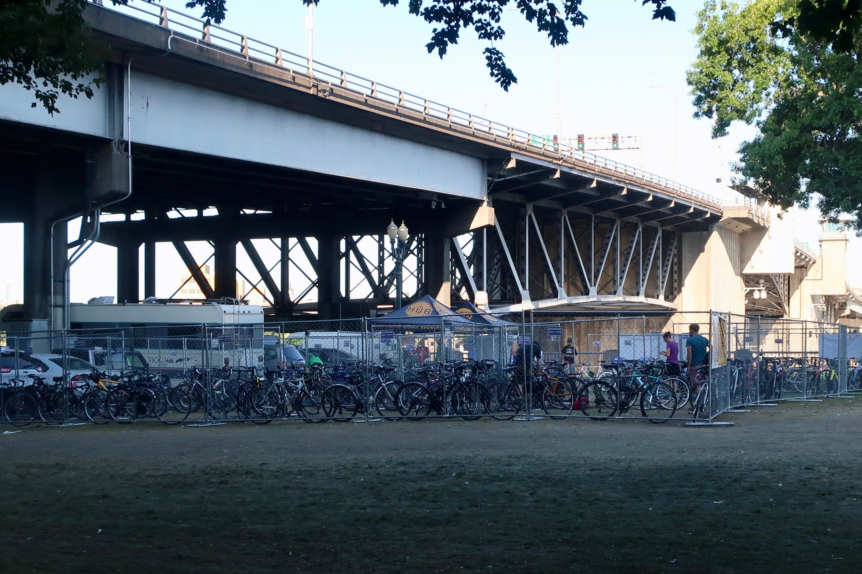 The Hopworks Urban Brewery Bike Corral offers free bike parking at the 2018 Oregon Brewers Festival