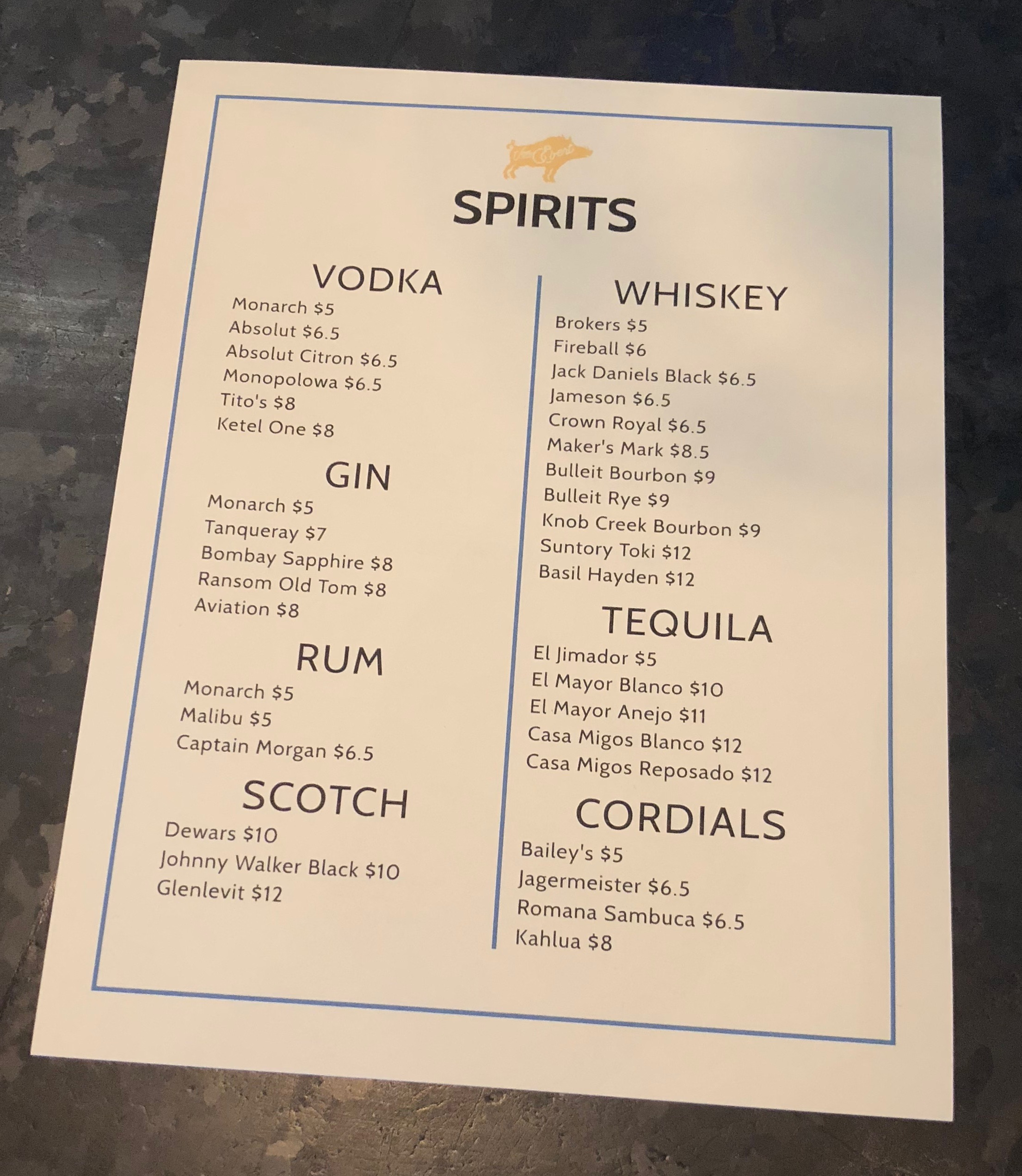 The Spirits Menu at Von Ebert Brewing - East