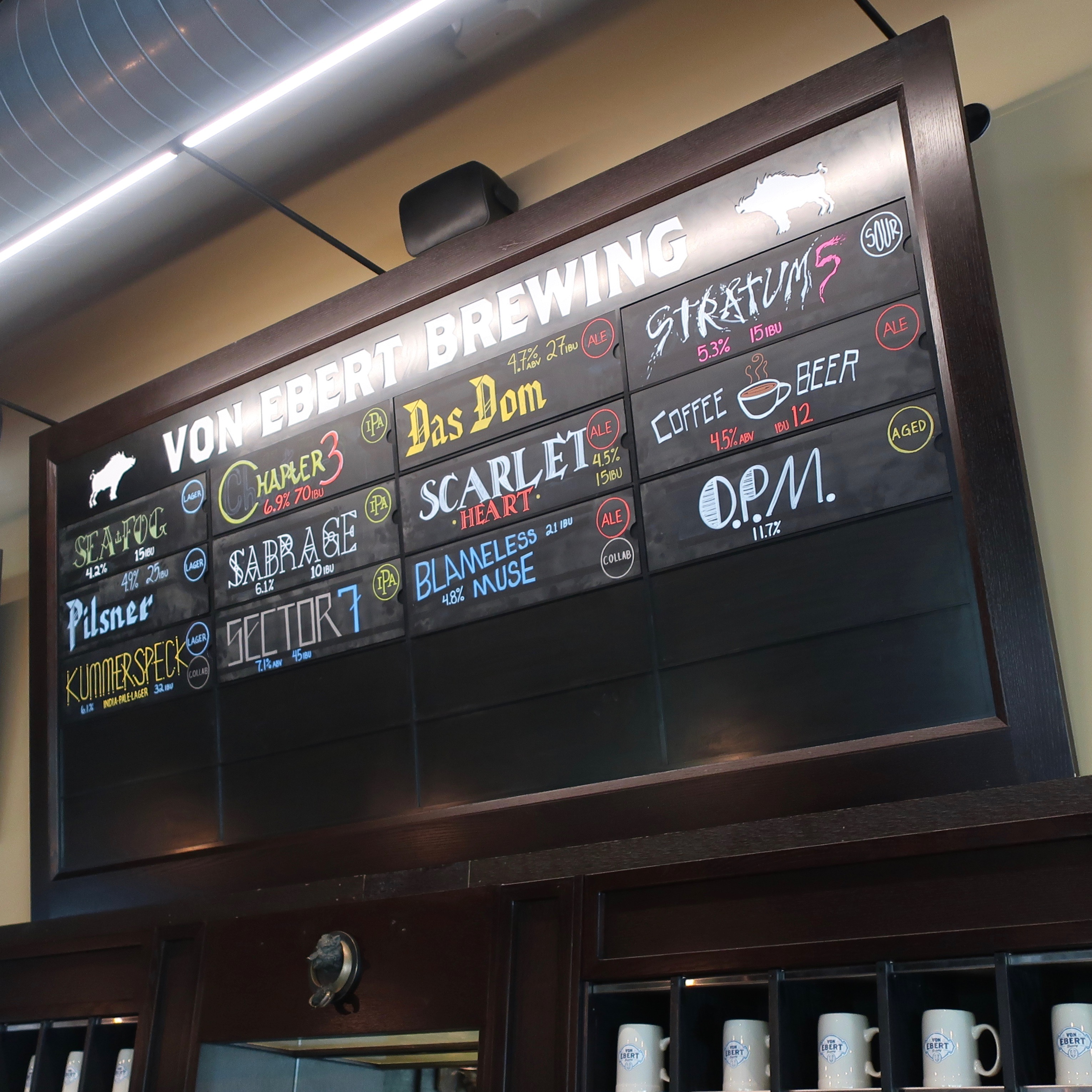 The Von Ebert Brewing beer menu board at Von Ebert Brewing - East.